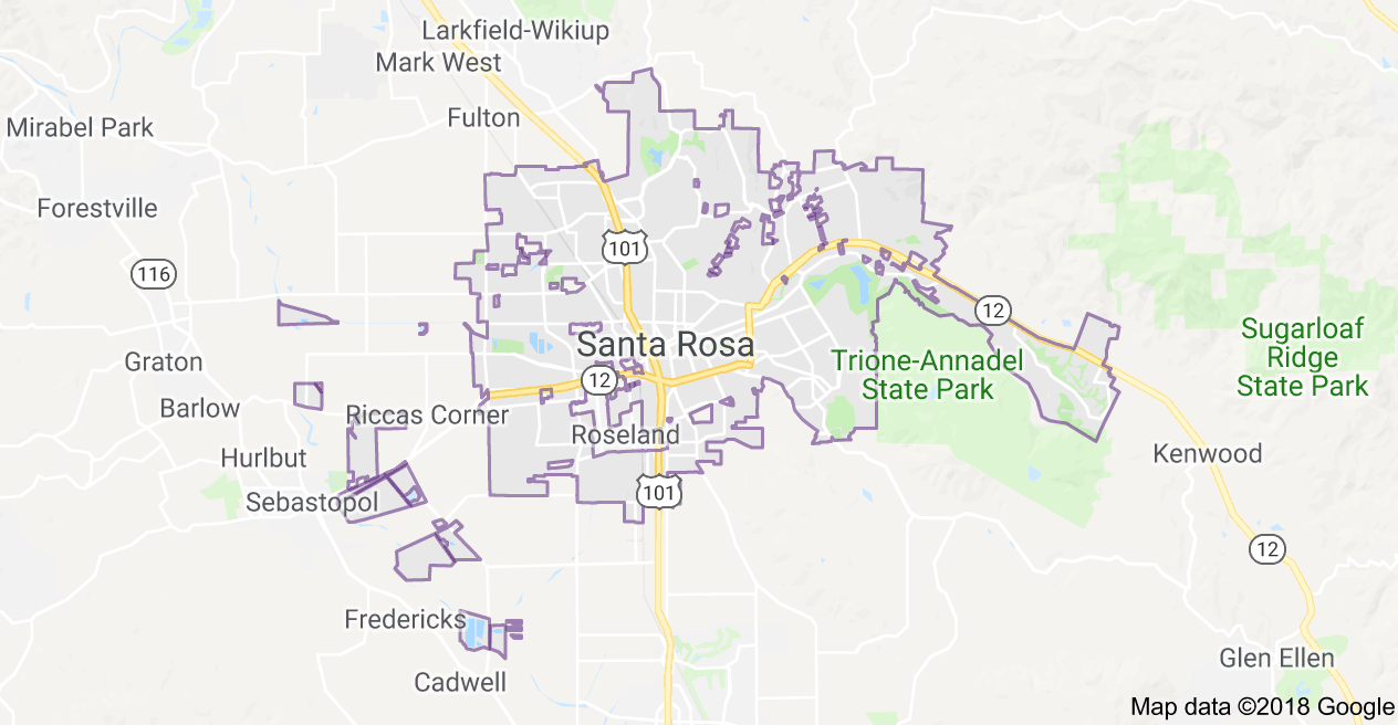 City Map and Guid - Santa Rosa, Sonoma County, California City Map Of California on